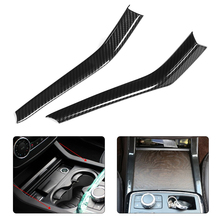 2pcs Carbon Fiber Style ABS Car Water Cup Holder Trim Cover Stripe Fits for Mercedes Benz GLE GLS ML GL W166 X166 2013-2019