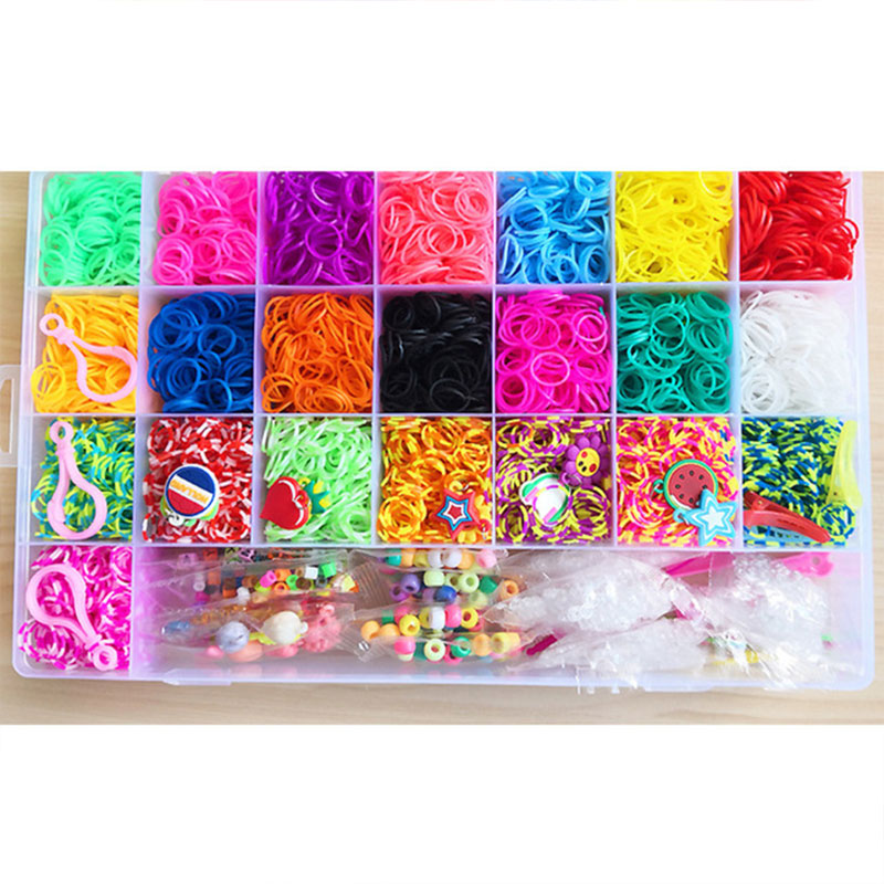 10000pc DIY Toy Elastic Rubber Loom Bands Set Kid DIY Weave Gum Bracelet Silicone Rubber Bands Rainbow for Teenage 8 10 years