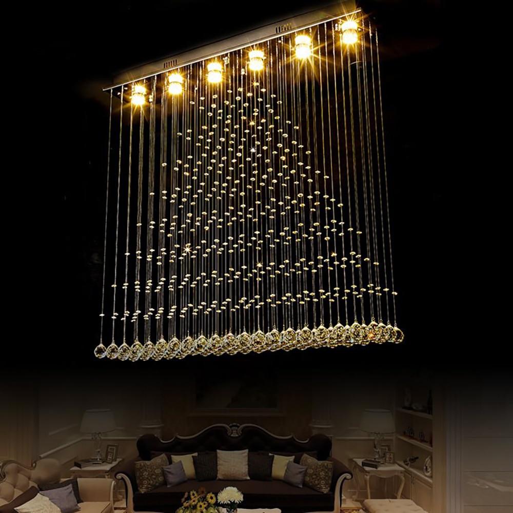 Modern LED Ceiling Crystal Chandelier Lighting For Living Room Dining Room Rectangle Kitchen Island Indoor Home Hanging Lamps