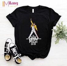Frauen Freddie Mercury Die Königin Band Schwarz T-shirts Weibliche Kurzarm Tees 2020 Sommer Marke Rock Kleidung Mädchen Tops
