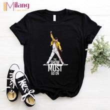 Camisetas negras de manga corta para mujer de Freddie Mercury The Queen, camisetas de verano 2020 de marca Rock