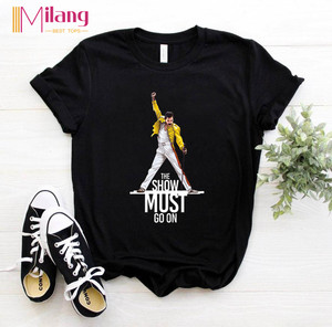 Women Freddie Mercury The Queen Band Black T-shirts Female Short Sleeve Tees 2020 Summer Brand Rock Clothing Girl Tops(China)