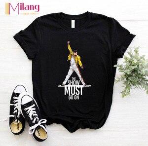 Women Freddie Mercury The Queen Band Black T-shirts Female Short Sleeve Tees 2020 Summer Brand Rock Clothing Girl Tops(China)