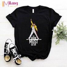 Women Freddie Mercury The Queen Band Black T-shirts Female Short Sleeve Tees 202