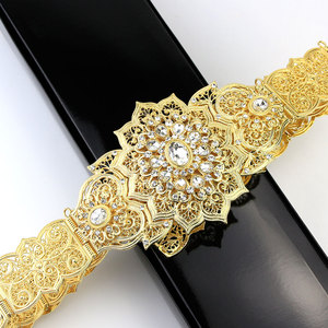 Image 3 - Sunspicems Fashion Moroccan Caftan Belt For Women Gold Silver Color Wedding Jewelry Evening Dress Crystal Link Chain Bridal Gift