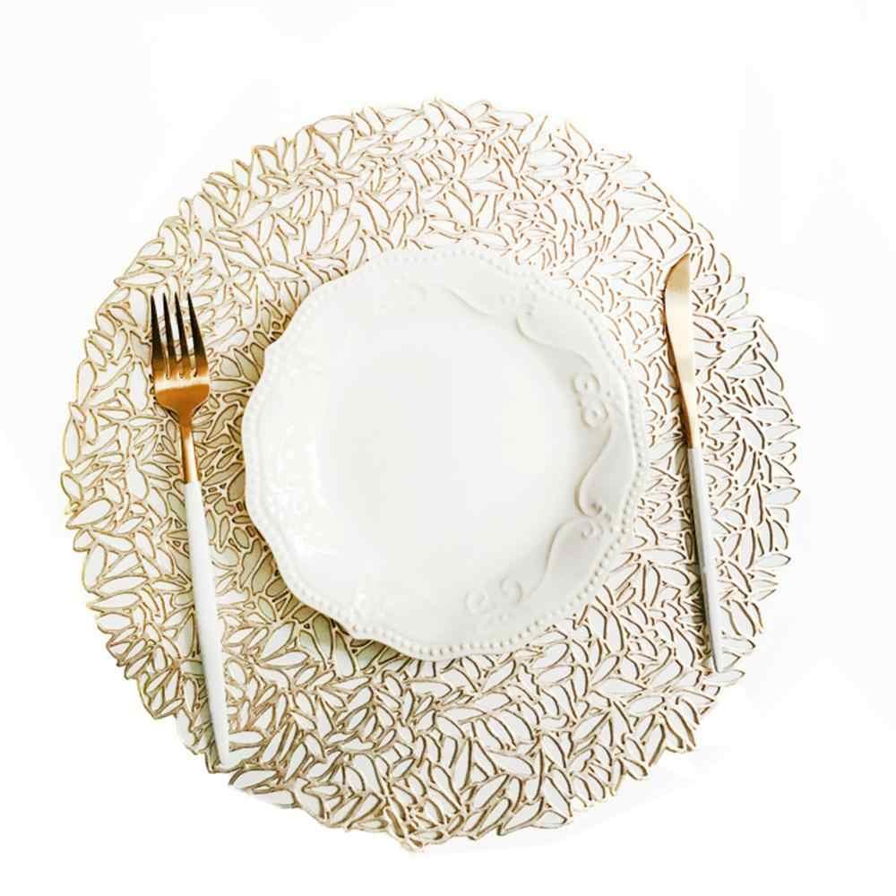 プレースマットキッチンアクセサリーテーブルマットクリスマスシミュレーション pvc テーブルマットの装飾テーブル装飾アクセサリーマットシルバー/ゴールドドロップシッピング