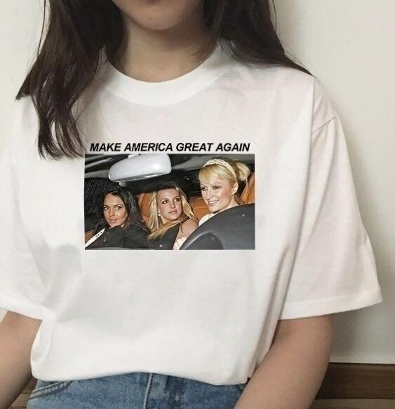 hahayule-XSX Britney Make America Great Again T-Shirt Women's Tumblr Fashion Cute Funny Meme Shirt Hipsters Street Style Top