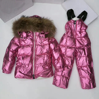 2019 Winter Girls Clothing Sets Fur Hoodie Suit for Boy Warm Down Boys Clothes 6 Years Jacket Overalls Children Snow Suits