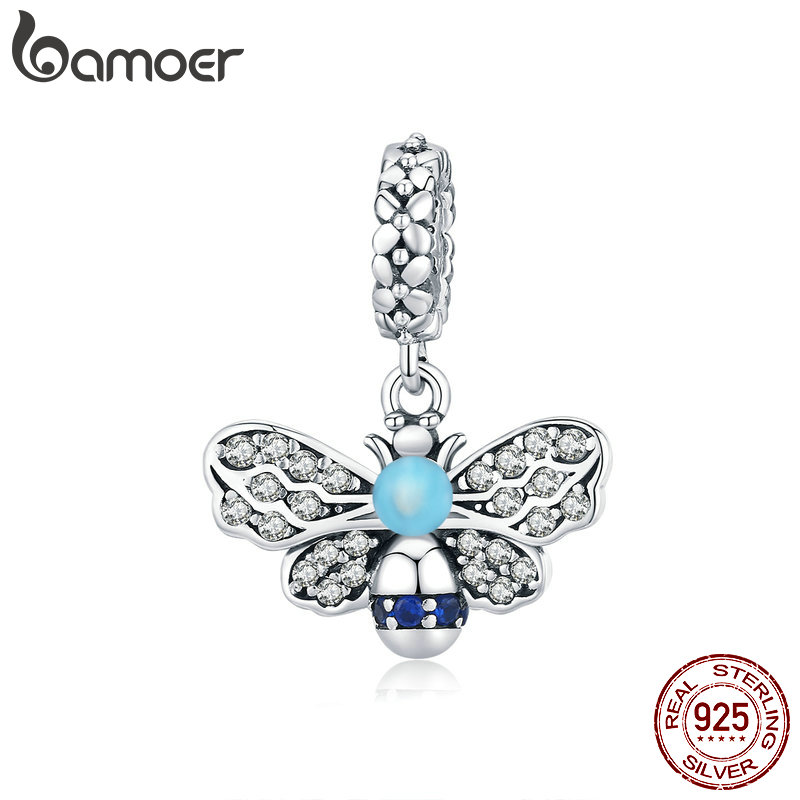 Bamoer Insert Series Genuine 925 Sterling Silver Blue Enamel Bee Pendant Charm For Bracelet Or Necklace Fine Jewelry SCC1480