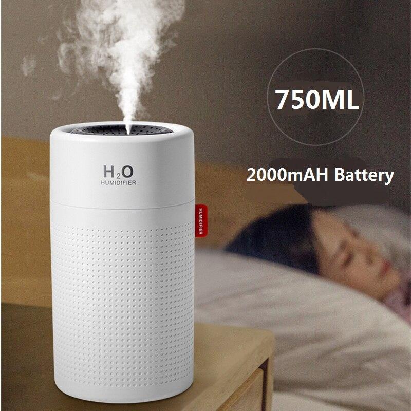Ev Aletleri'ten Nemlendiriciler'de 750ml hava nemlendirici 2000mAh USB şarj edilebilir kablosuz ultrasonik Aroma büyük kapasiteli su buhar makinesi ışık Umidificador title=