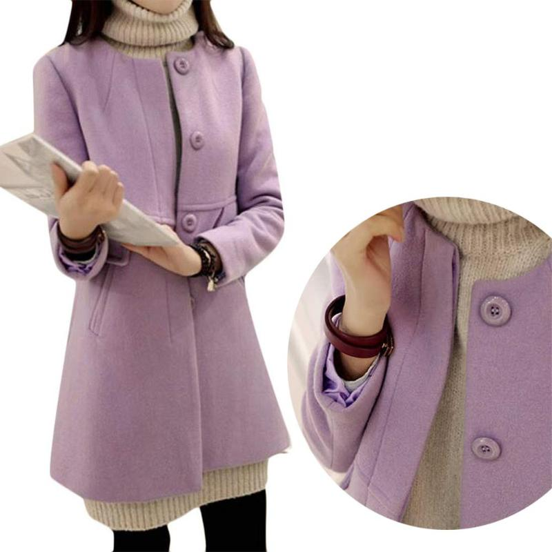 Plus Size Solid Color Overcoat A-shaped Long Sleeve Coat Women Outwear 33