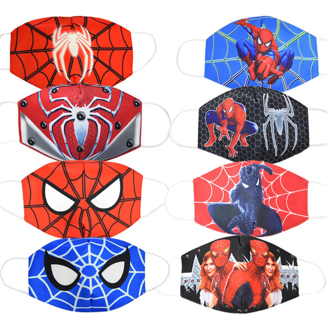 2020 Spiderman Unisex Face Mouth Masks Kids Dust Respirator Washable Reusable Mask Fashion Cotton Non-disposable Mouth Muffle