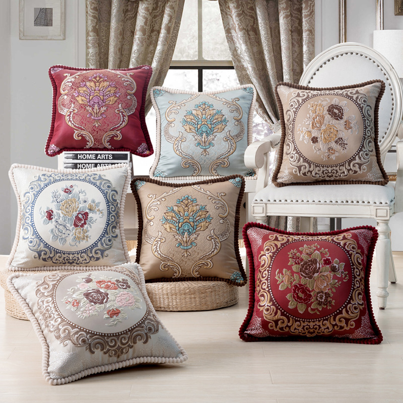Embroidery Cushion Covers Pillow Cases Bead String Jacquard Pillowcase Throw for Car Living Office Bedroom Home Decoration 48x48