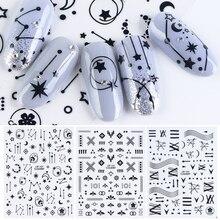 3D ดาวดอกไม้ Decals สติกเกอร์สำหรับเล็บกาว Wraps สีดำตัวอักษรสีขาวเล็บ Slider 3D อุปกรณ์ตกแต่ง CHCB133 141