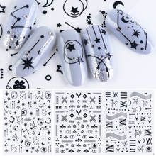 3D Stelle Fiore Stickers adesivi per Nail Adesivo Wraps Nero Bianco Lettera Unghie artistiche Cursore 3D Accessori Decorazione CHCB133 141