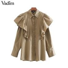 Vadim women vintage ruffles khaki blouse long sleeve female casual shirts office wear retro solid chic tops blusas LB489