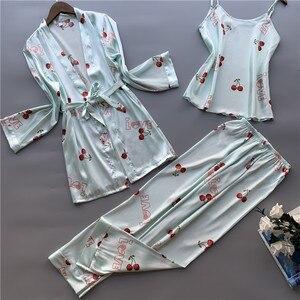 Image 4 - 3 Pcs ผู้หญิงผ้าไหมน้ำแข็งชุดนอน Polka ผลไม้หวานเสื้อกั๊กกางเกงชุดชุดนอน