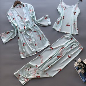 Image 4 - 3 peças de seda gelo pijamas femininos polka fruta doce colete calças cardigan conjunto pijamas