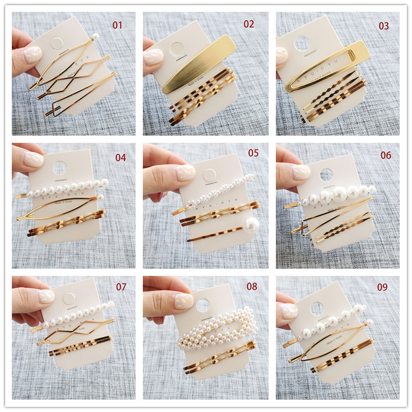 3Pcs/set Pearl Metal Gold Color Hair Clip Baby Pin Barrette Hairband Hairpin Headdress For Women Girls Hair Accessories