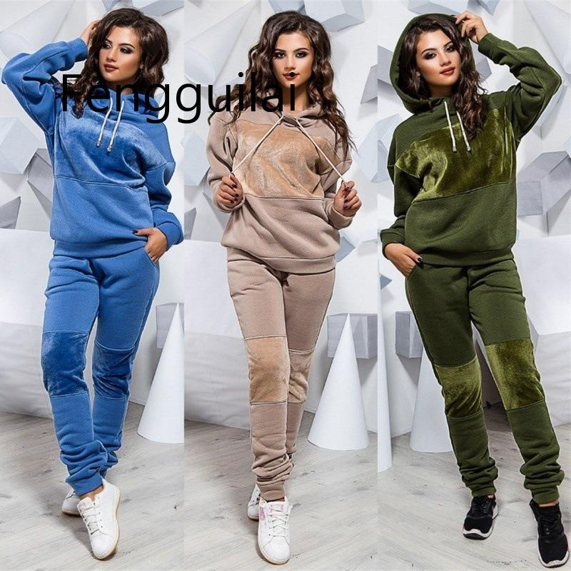 FENGGUILAI 2019 Autumn Winter Leisure Suit Ladies Hooded Sweater Sports Suit Women's Fashion Large Size Two-piece