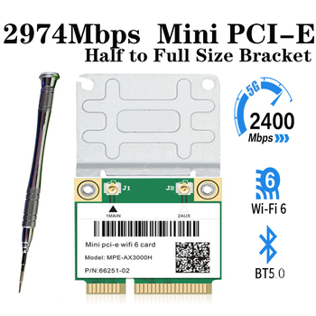 300mbps dual band wifi pci e adapter antennas wireless computer network pcie card 802 11a b g n 300m wifi wlan for desktop pc 2400Mbps Wifi 6 Network Wlan Wifi Card Bluetooth 5.0 Dual Band 802.11ax/ac Wireless Adapter Half Mini PCI-E 2.4G/5Ghz For Win 10