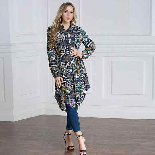 Women Autumn Winter Long Sleeve Shirt Retro Floral Print Vintage Long Blouse Plus Size Asymmetric Hem Belted Tunic Top DC609