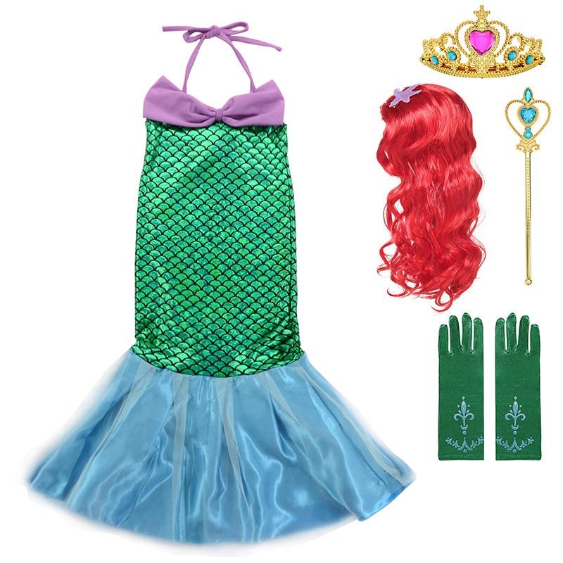 Robe princesse Ariel pour filles   Vêtements dété pour fête de piscine petite sirène, vêtements de plage pour enfant, Frock, épaules dénudées, bretelles suspendues