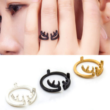 Charms Deer Antler Animal Open Ring for Women Wedding Rings Adjustable Knuckle Finger Jewelry Ornament Gift Wholesale WD670