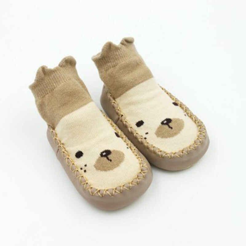 2019 носки для малышей Детские носки-тапочки для новорожденных на осень и зиму противоскользящая обувь носки с рисунками из мультфильмов с мягкой подошвой Новинка, для детей от 0 до 24 месяцев