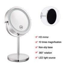7 Inch 10x Vergrößerung Rund Make Up Spiegel Dual 2 Seitige Runde Form 17 LEDs Dreh Kosmetik Spiegel Ständer Lupe Spiegel