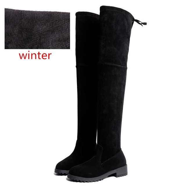 2019 mode femmes chaussures d'hiver nouveau sur le genou bottes femmes bottes hautes chaud fourrure neige bottes chaussures plates femmes bottes Bota femmes