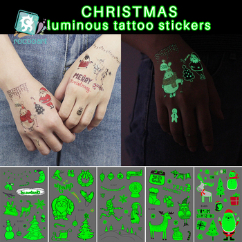 Rocooart Christmas Tattoo For Children Glowing Dark Taty Waterproof Fake Tatoo Luminous Tattoo Stickers Body Art Cartoon Tatto