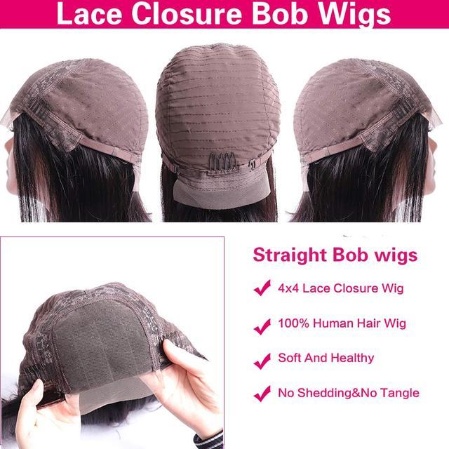 4x4 Lace Closure Short Bob Wig Human Hair Wigs Blunt Cut Bob Human Hair Wig Pre-Plucke Brazilian Straight Wig For Black Women 5
