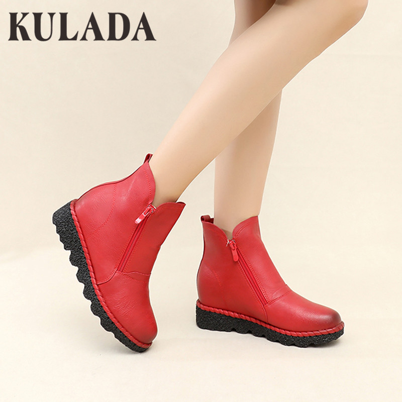KULADA/ботинки; женская обувь с двойной боковой молнией; женские ботильоны на водонепроницаемой платформе; стильная женская обувь; сезон весна...