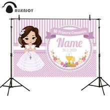 Allenjoy photophone backdrops first holy communion decoration girl pink stripes dots flower backgrounds custom photobooth