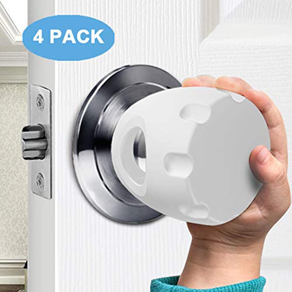 CYSINCOS 4Pcs/pack Child Door Knob Covers Home Door Knob Safety Cover Baby Indoor Protection Accessories Anti-impact Door Handle