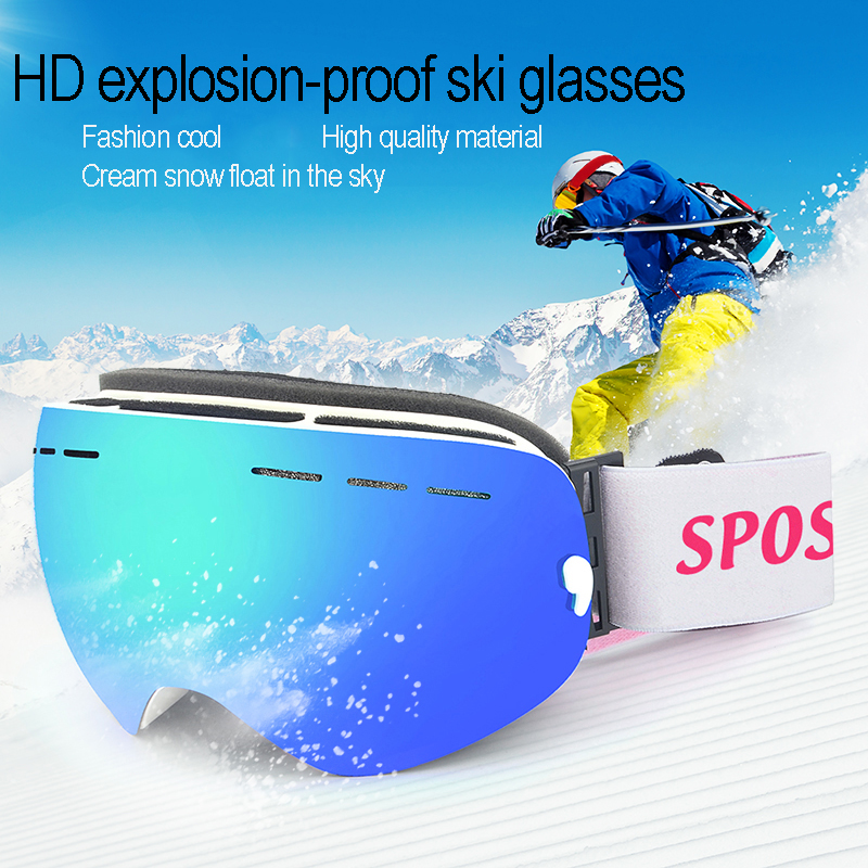 SPOSUNE Ski Goggles Magnetic Double Layer Polarized Lens Ski Goggles Skiing Anti-fog Windproof UV Snowboard Eyewear Outdoor Snow