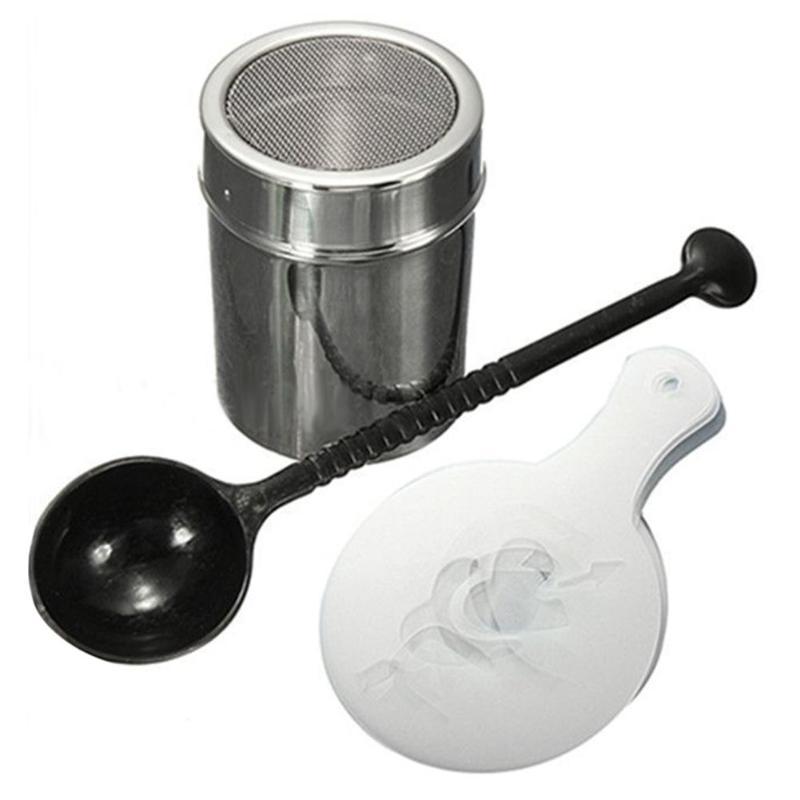 Chocolate Shaker Duster + 16pcs Cappuccino Coffee Stencils + Measure Spoon