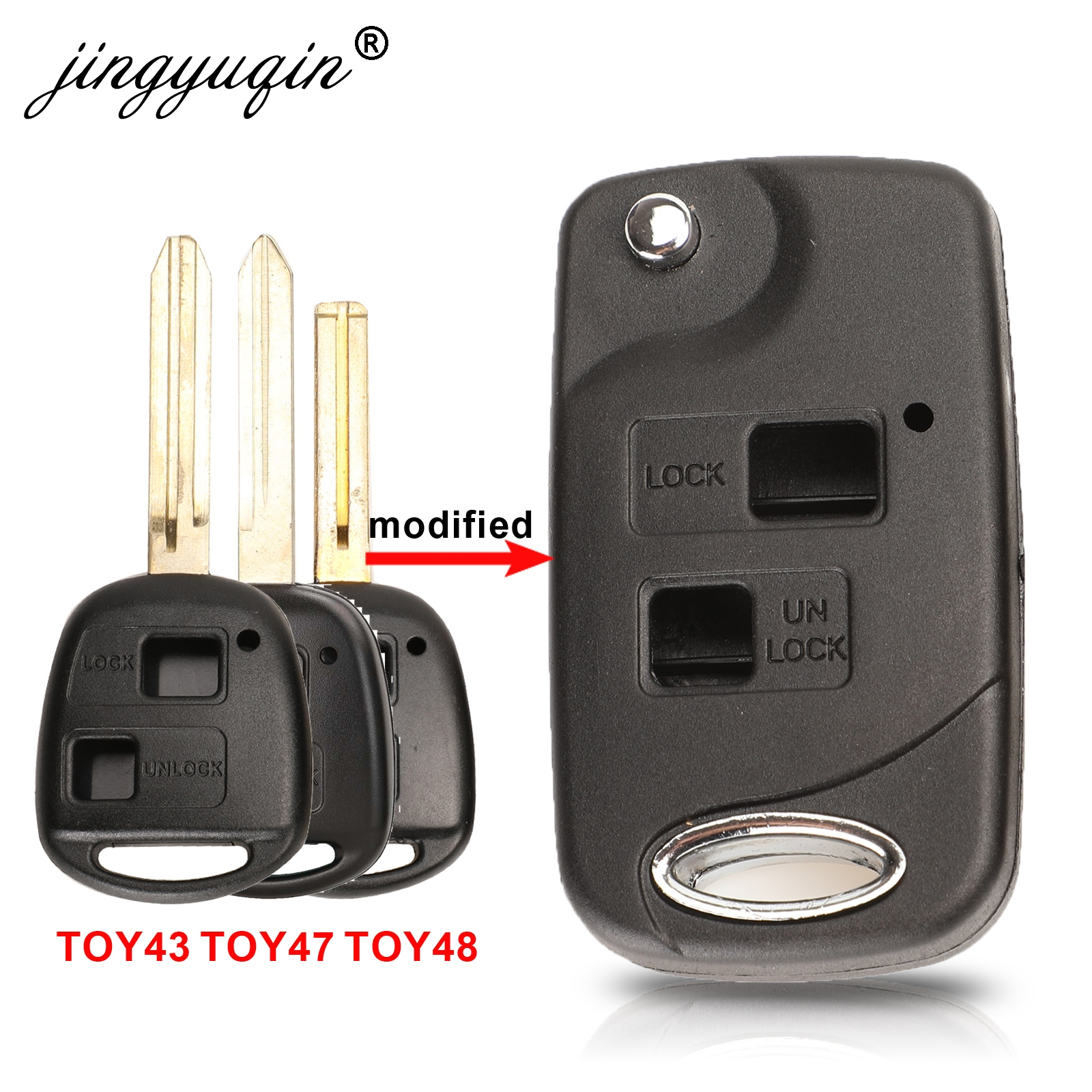 Jingyuqin флип 2 кнопки дистанционного ключа оболочки для Toyota RAV4 Avalon Echo Prado Tarago Camry Tarago TOY43 / TOY47 TOY48 Fob чехол