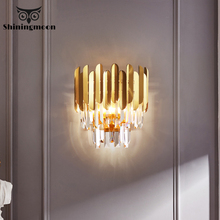 Asia Luxury Golden Wall Lamps Nordic Copper Led Lamp Aisle Loft Light Hotel Bedside Decor Sconce Fixtures