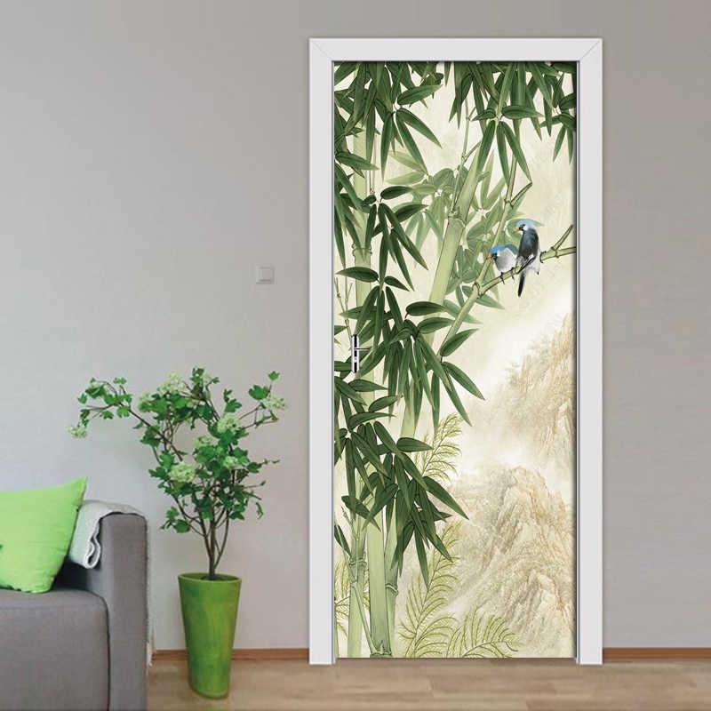 3D Hand Gezogen Bambus Wald Vogel Tür Aufkleber Tapete Wohnzimmer Schlafzimmer Tür Wand Aufkleber Wandbild Decals Für Wohnkultur poster