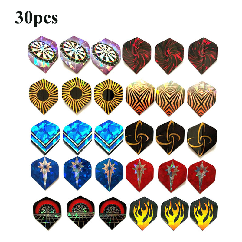 15-30 PCS Beautiful Reflective Laser Dart Wing Set A B C Darts Flights  High Quality  Durable PVC Nice Dart Flights Set