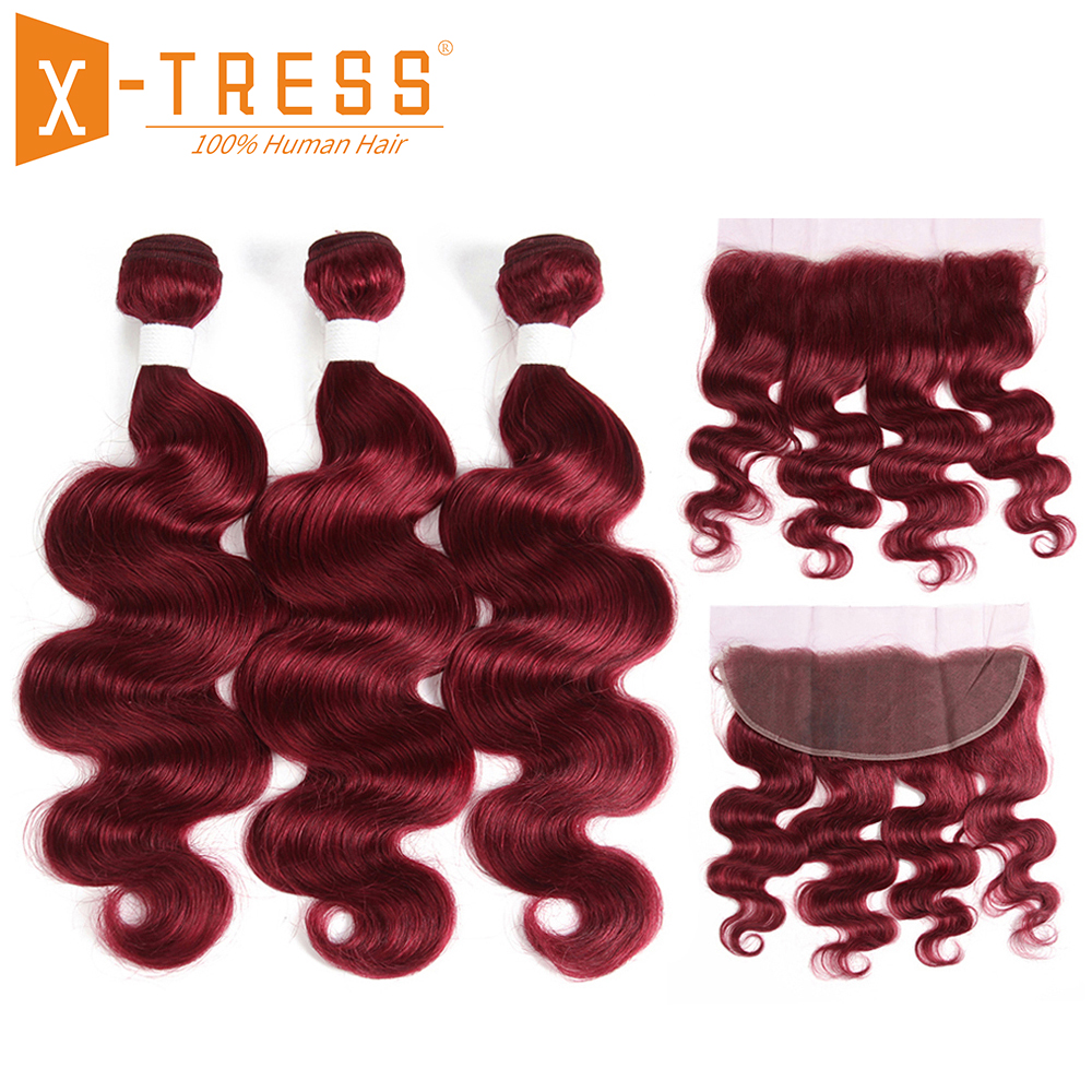 99J Burgundy Human Hair Bundles With Frontal X TRESS Brazilian Non Remy Body Wave Human Bundle Hair Weaves With Lace Frontal in 3 4 Bundles with Closure from Hair Extensions Wigs