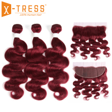 99J/Burgundy Human Hair Bundles With Frontal X-TRESS Brazilian Non Remy Body Wave Bundle Weaves Lace