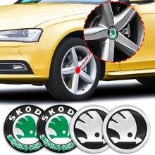 4 pçs 56mm centro cubo de pneus 3d logotipo adesivo hub capa decalque acessórios do carro para skoda-rapid gt superb fabia kodiaq octavia kamiq