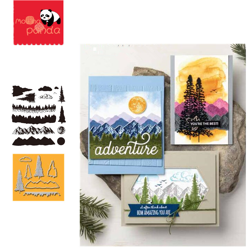 MP089 MOUNTAIN Metal Cutting Dies And Stamps Stencils For DIY Scrapbooking Dies Papers Cards Embossing Cut Dies 2019 New