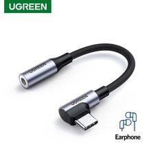 Ugreen – adaptateur USB Type C à 3.5mm, 90 degrés, adaptateur AUX, prise de jeu, séparateur de Type C, câble Audio pour écouteurs Huawei P40 Mate 20 Pro