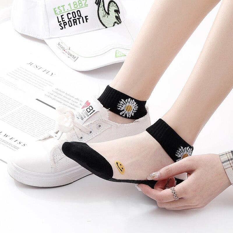 NEST 5 Pairs/Lot Women Embroidery Crew Silk Socks Cotton Colorful Thin Skin Women Socks