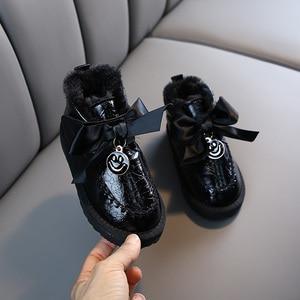 Image 3 - Kinder Schnee Stiefel 2020 Koreanischen Winter Mädchen Fühlte Warme Prinzessin Laser Leder Plüsch Bogen Stiefel Lächeln Wasserdichte Schuhe Mädchen Footware