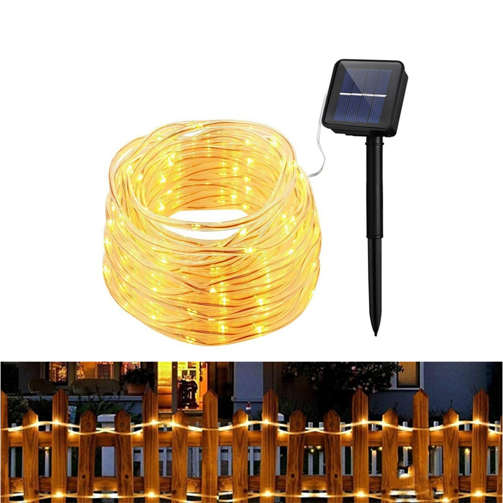 Solar Lights Garland 100 LED Solar String Lights Waterproof Copper Wire Tube Fairy For Christmas Garden Decoration